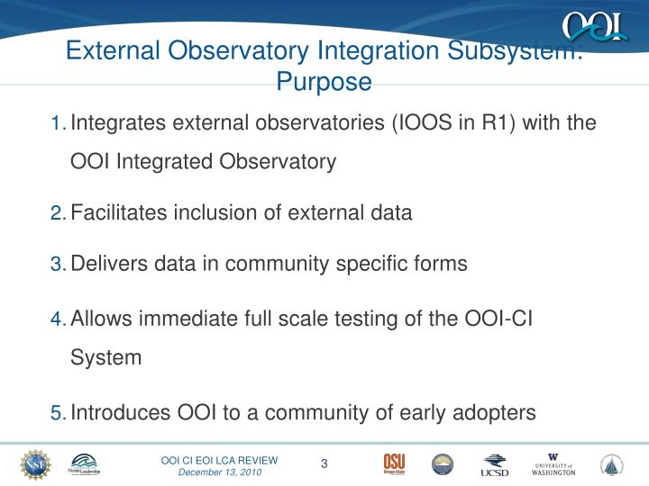 External Observatory Integration Subsystem: Purpose