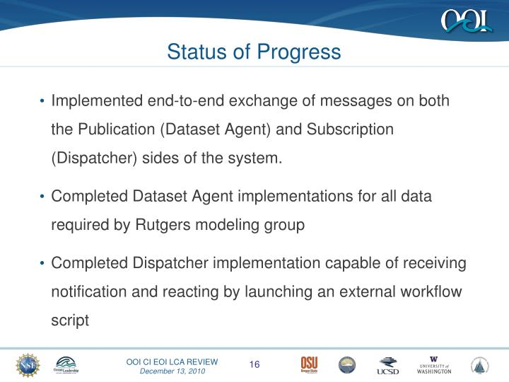 Status of Progress