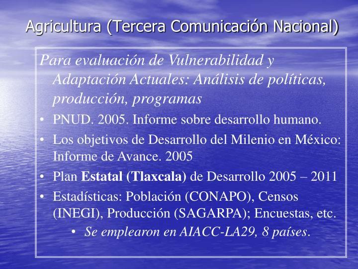 Agricultura (Tercera Comunicación Nacional)