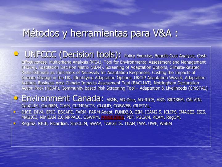 Métodos y herramientas para V&A :