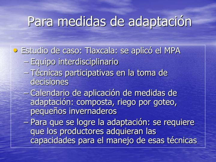 Para medidas de adaptación
