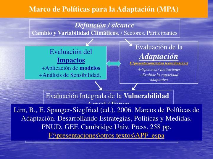 Marco de Políticas para la Adaptación (MPA)