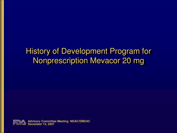 History of development program for nonprescription mevacor 20 mg