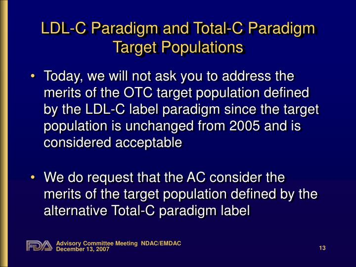 LDL-C Paradigm and Total-C Paradigm Target Populations