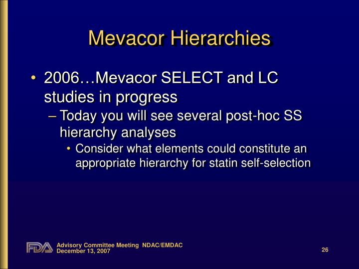Mevacor Hierarchies