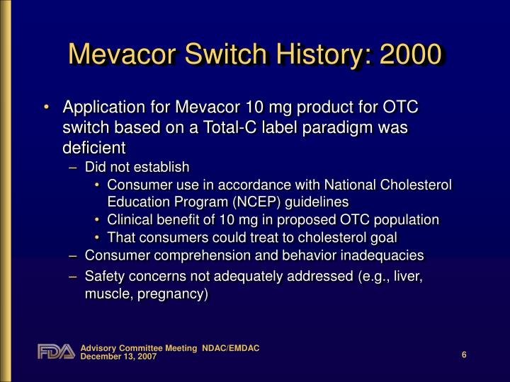 Mevacor Switch History: 2000