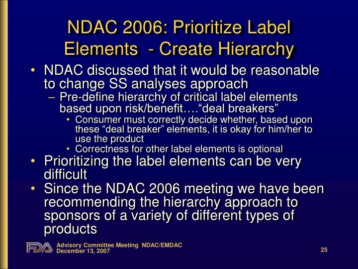 NDAC 2006: Prioritize Label Elements  - Create Hierarchy