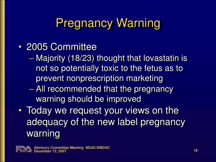 Pregnancy Warning