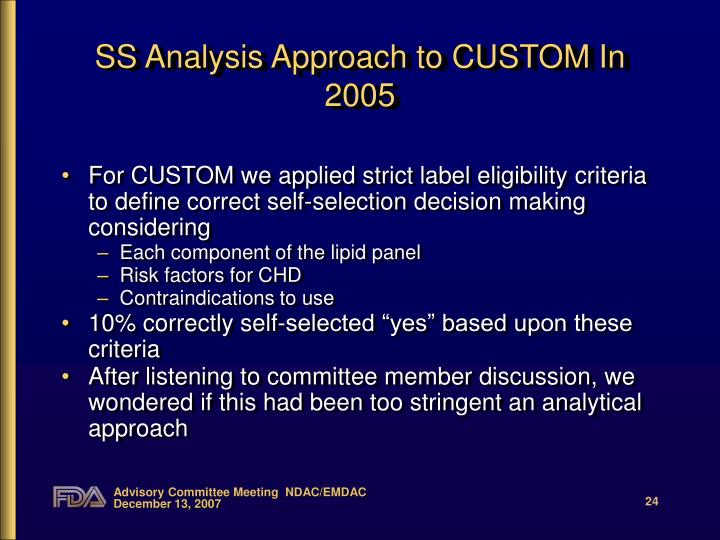 SS Analysis Approach to CUSTOM In  2005