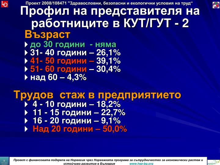 Профил на представителя на работниците в КУТ/ГУТ - 2