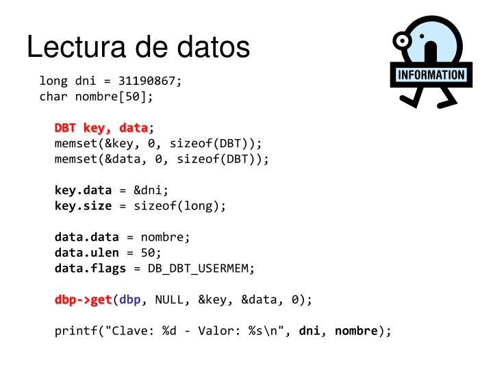 Lectura de datos
