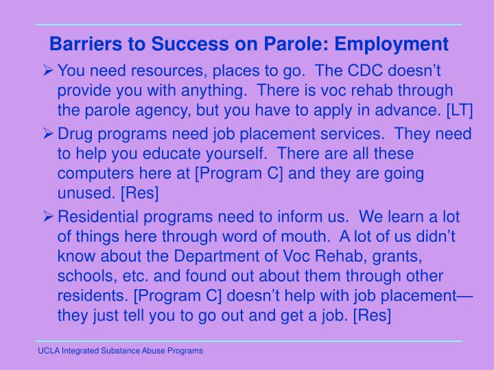 Barriers to Success on Parole: Employment