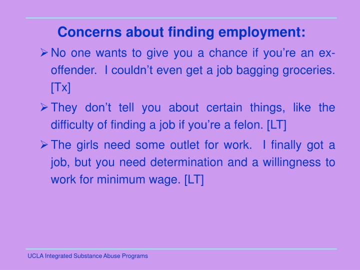 Concerns about finding employment: