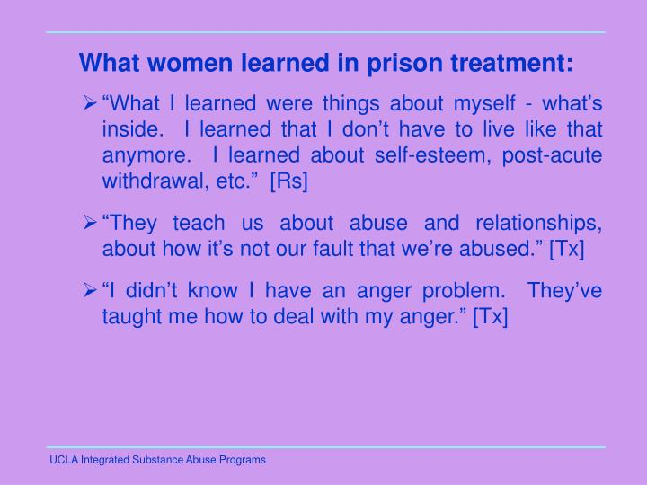 What women learned in prison treatment: