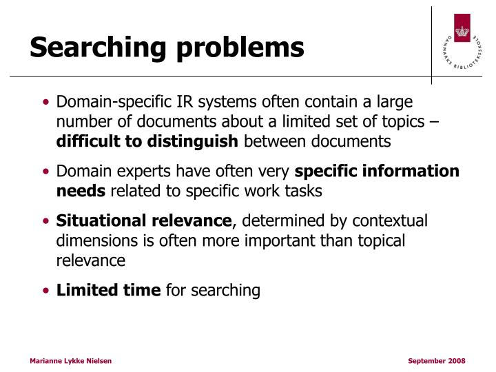 Searching problems