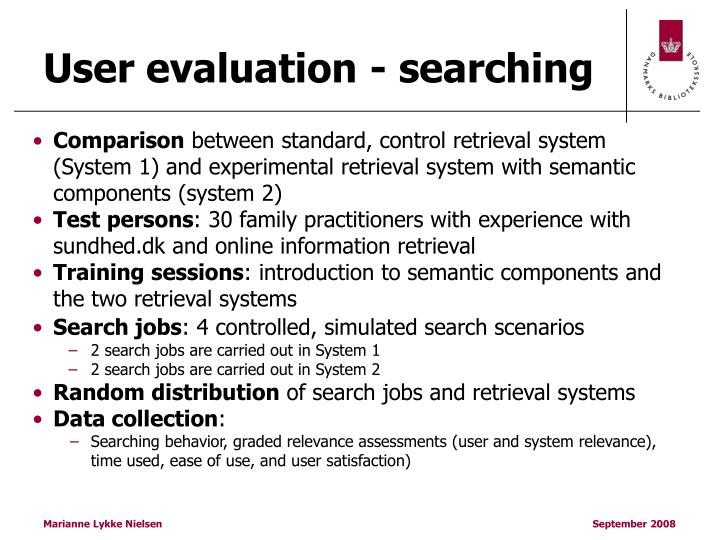 User evaluation - searching