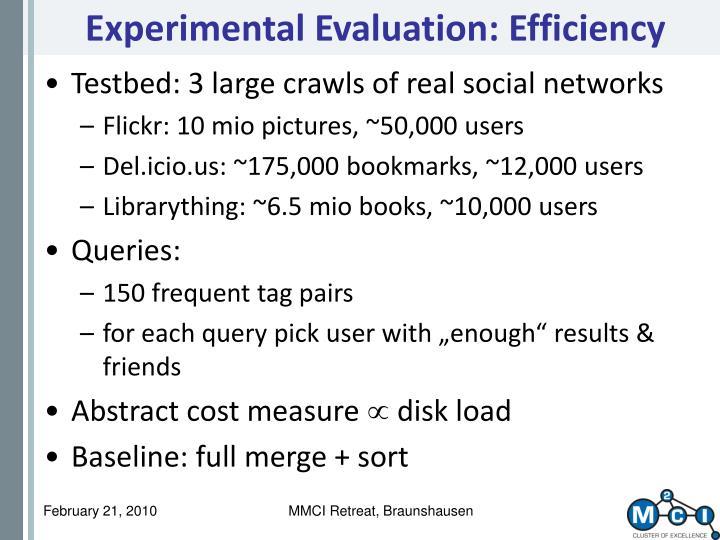 Experimental Evaluation: Efficiency