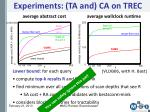 experiments ta and ca on trec