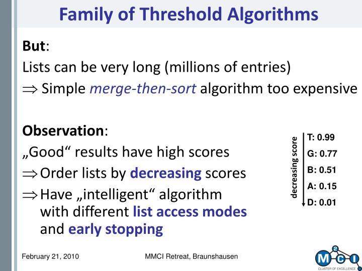 Family of Threshold Algorithms