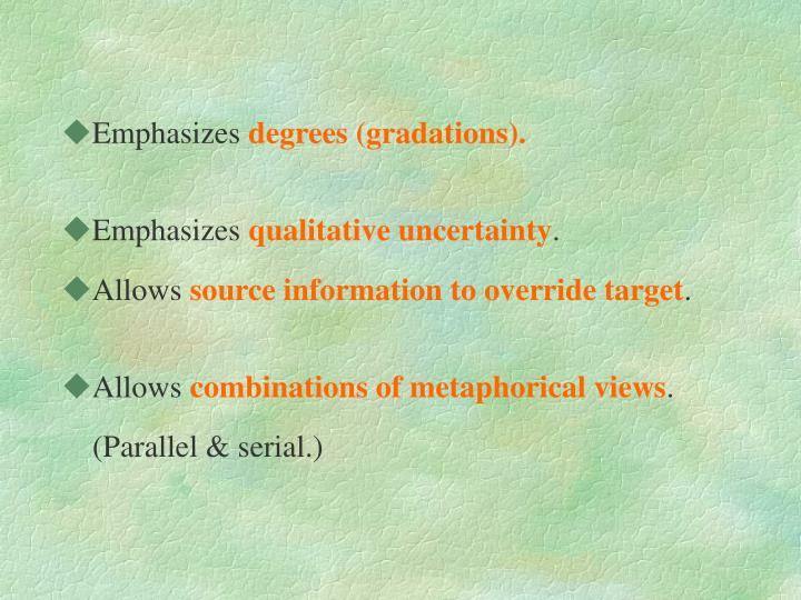 Emphasizes