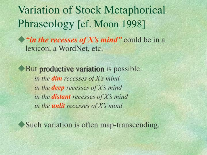 Variation of Stock Metaphorical Phraseology