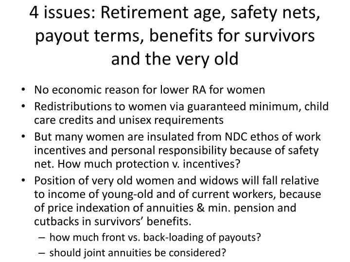 4 issues: Retirement age, safety nets, payout terms, benefits for survivors and the very old