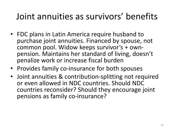 Joint annuities as survivors' benefits