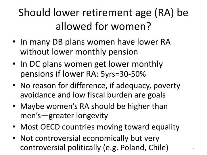 Should lower retirement age (RA) be allowed for women?