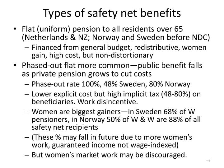 Types of safety net benefits