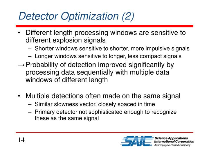 Detector Optimization (2)