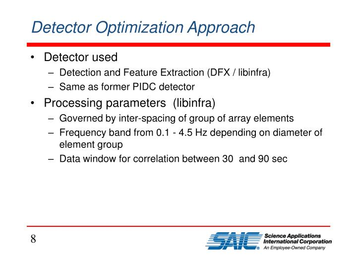 Detector Optimization Approach