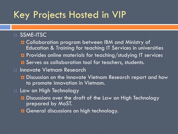 Key Projects Hosted in VIP