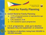need for family planning