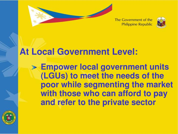 At Local Government Level: