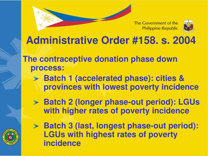 Administrative Order #158. s. 2004