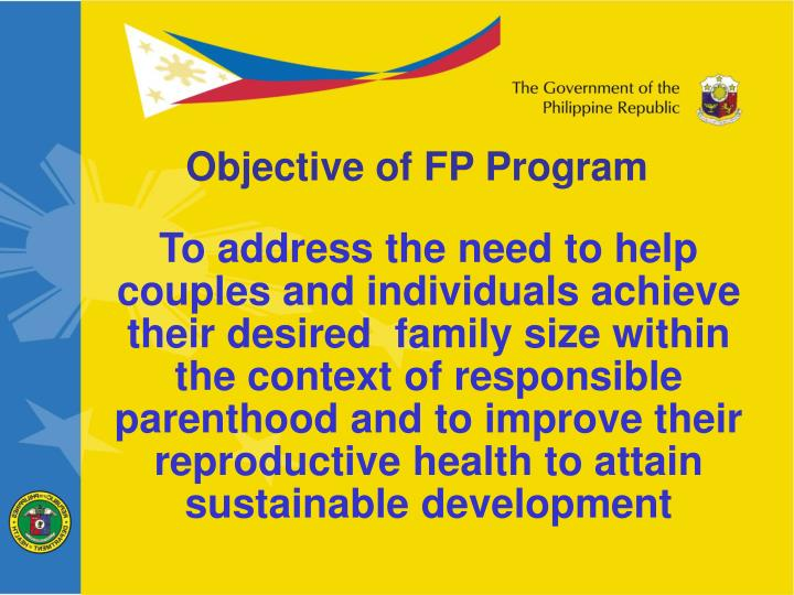 Objective of FP Program