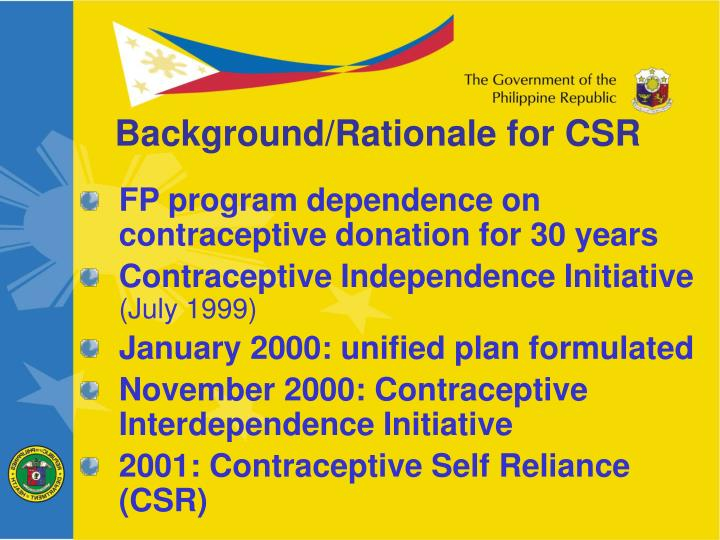 Background/Rationale for CSR