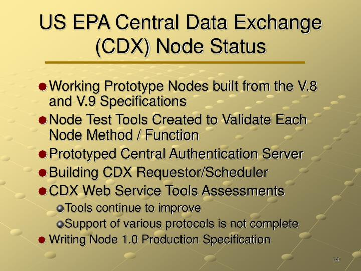 US EPA Central Data Exchange (CDX) Node Status