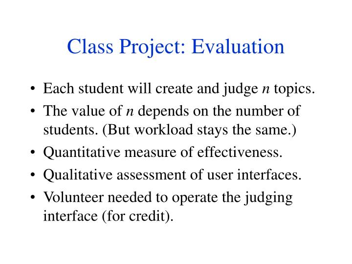 Class Project: Evaluation