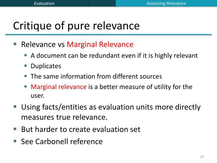 Assessing Relevance