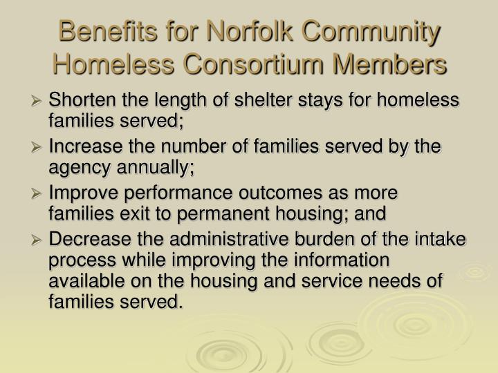 Benefits for Norfolk Community Homeless Consortium Members