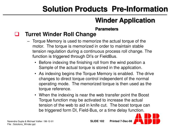 Turret Winder Roll Change