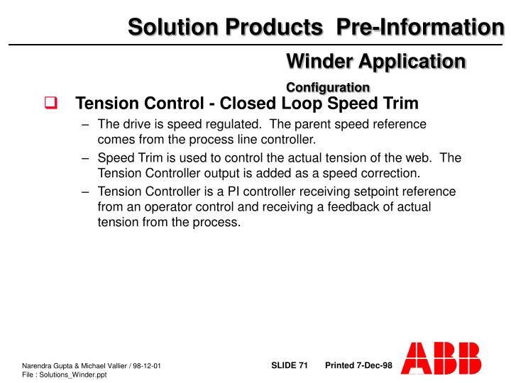 Tension Control - Closed Loop Speed Trim