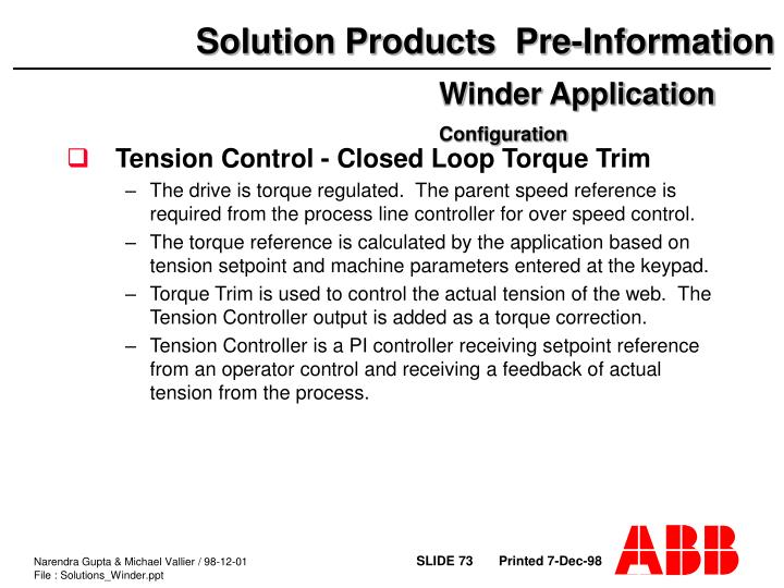 Tension Control - Closed Loop Torque Trim
