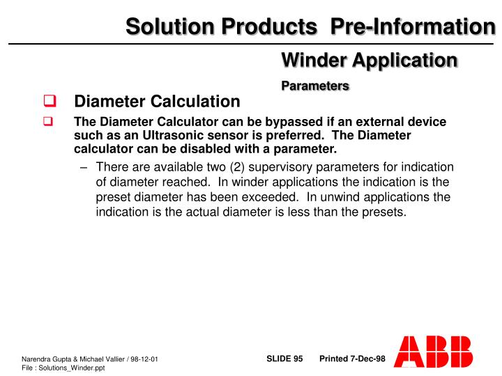 Diameter Calculation