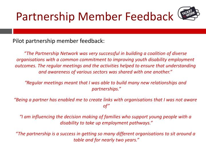 Partnership Member Feedback