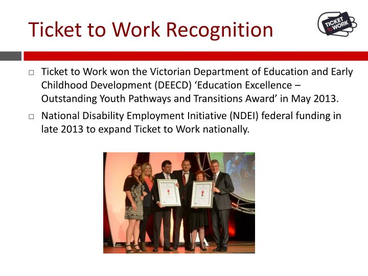 Ticket to Work Recognition