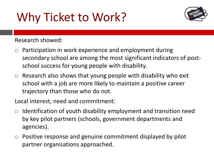 Why Ticket to Work?