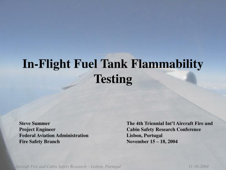 In flight fuel tank flammability testing