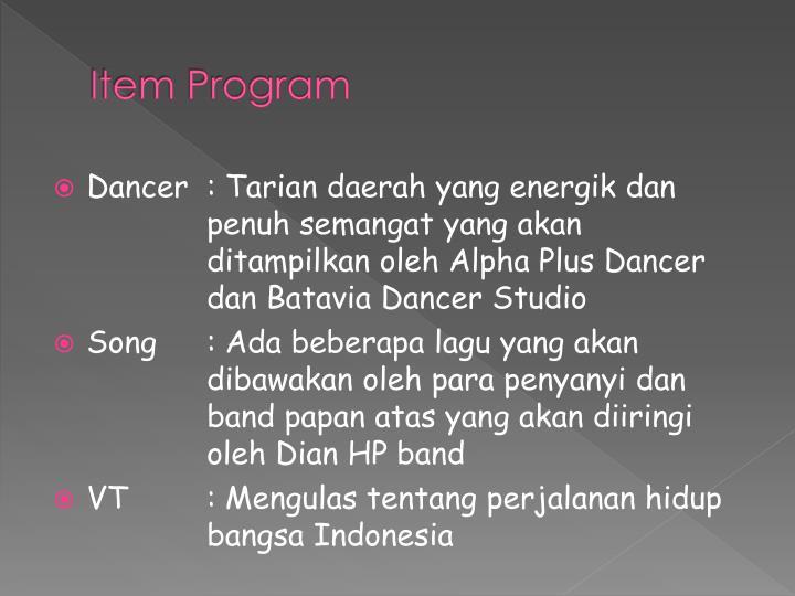 Item Program